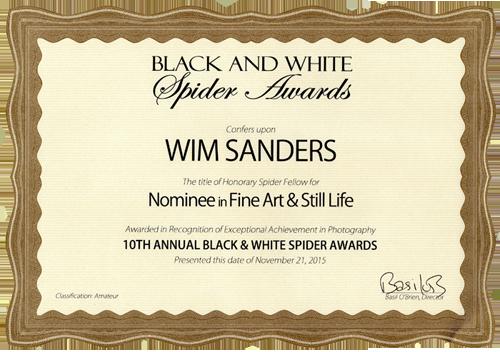 Certificaat B&W Spider Awards Nominee Fine-Art & Still Life