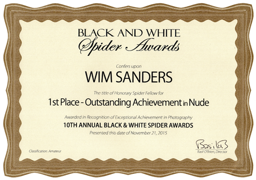 Certificaat B&W Spider Awards 1st Place Nude