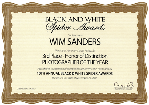 Certificaat B&W Spider Awards 3rd Place Photographer Of The Year 2015